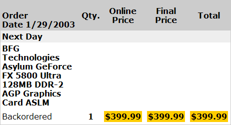 GeForce FX Backordered